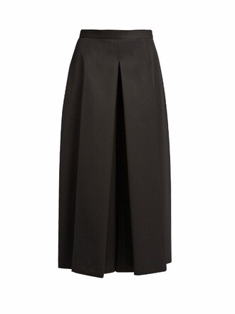 culottes pleated wool black pants