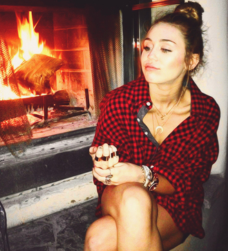 blouse plaid red black flannel shirt miley cyrus