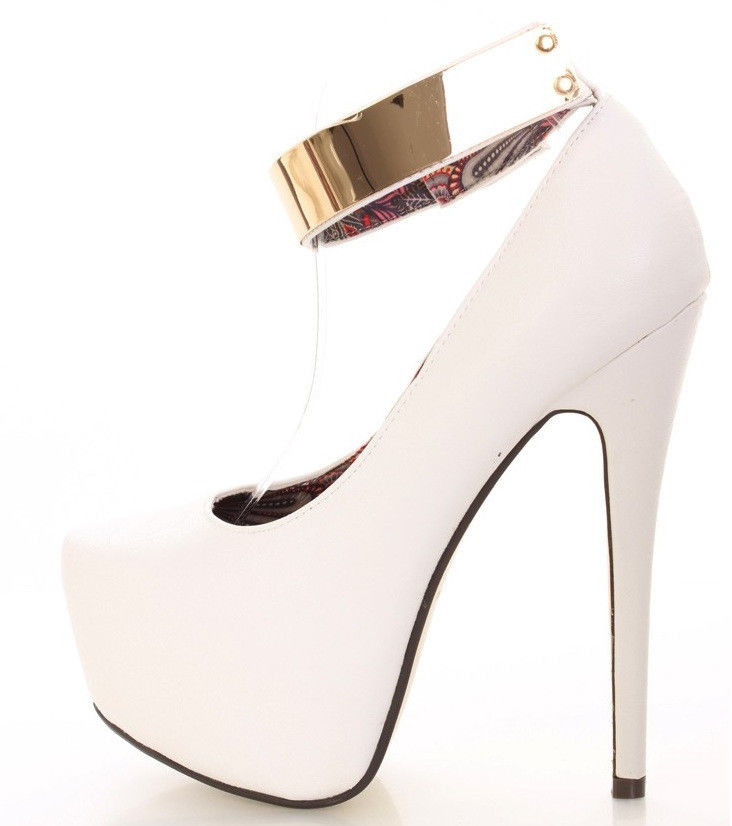 White Almond Toe Platform Pump High Heel Shoe w Gold Ankle Strap | eBay