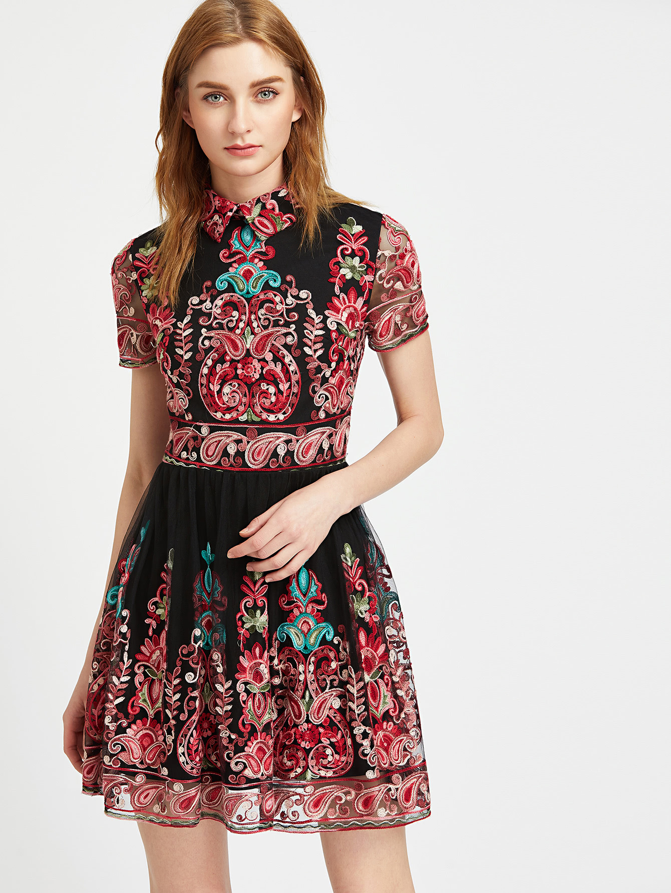 14b9dd0ea5 Embroidered Mesh Overlay Skater Dress -SheIn(Sheinside)