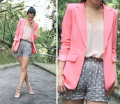 jacket,pastel pink,pink blazer,blazer,baby pink