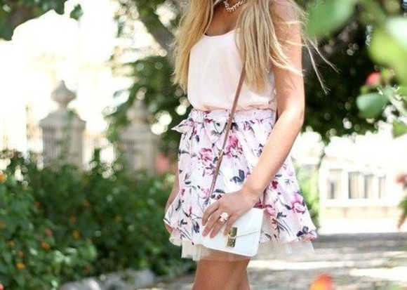 white bag skirt flowers shirt flowerskirt pink pink shirts
