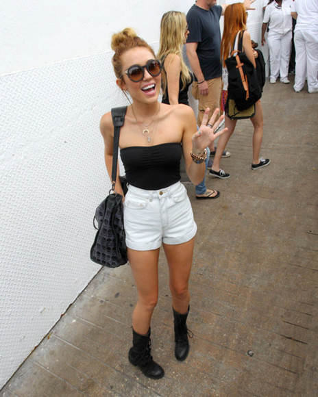 high waisted short miley cyrus black cute style crop tops sunglasses shoes boots combat boots little black boots studded boots cat eye shoes black grunge flat high waisted denim shorts shorts vintage jeans shirt highwaisted black leather skirt black combat boots denim high-wasted denim shorts