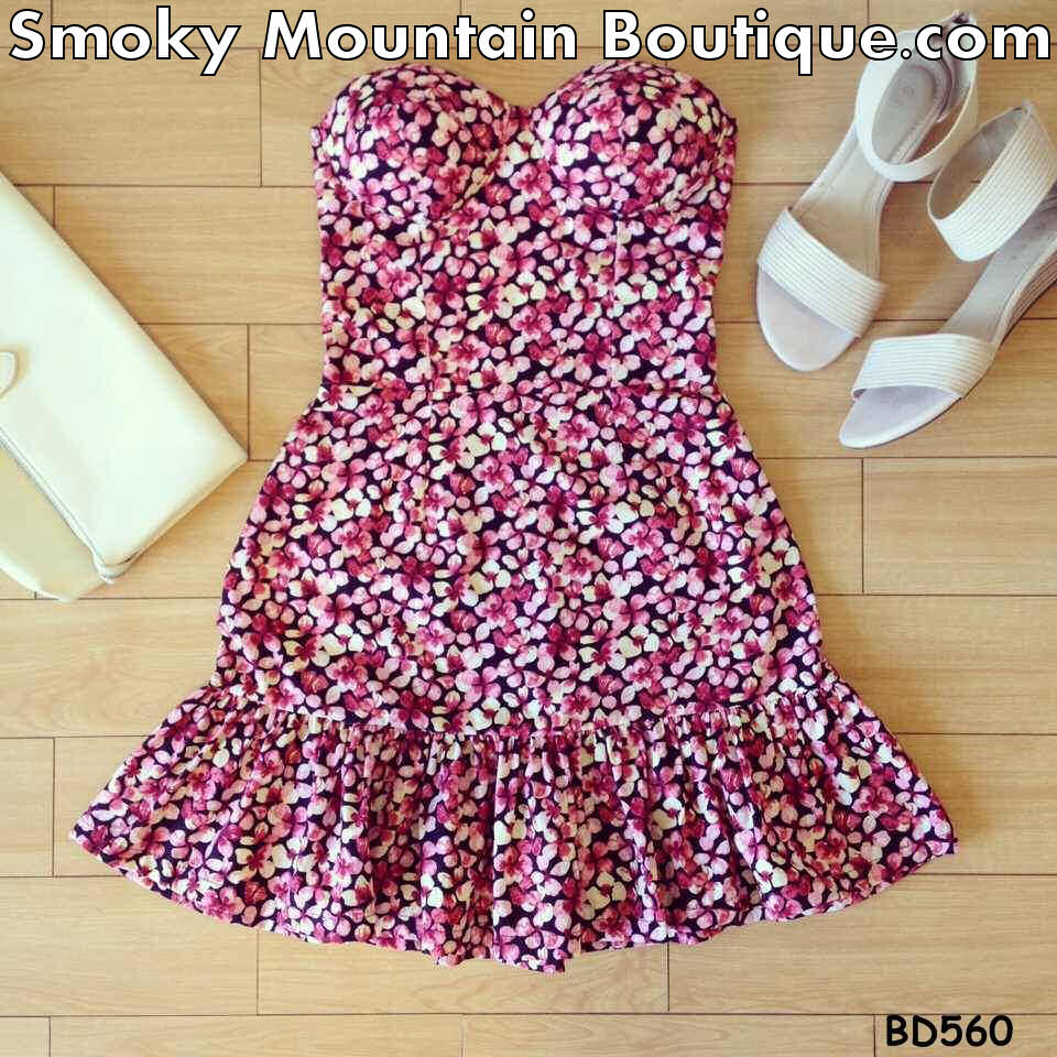 Ruffled Skirt Floral Bustier Dress with Adjustable Straps - Size XS/S/M BD 560 - Smoky Mountain Boutique