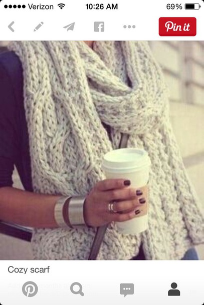 scarf fashion trendy fall sweater winter sweater cozy beige cute girly pretty chunky knit knitted scarf knitwear