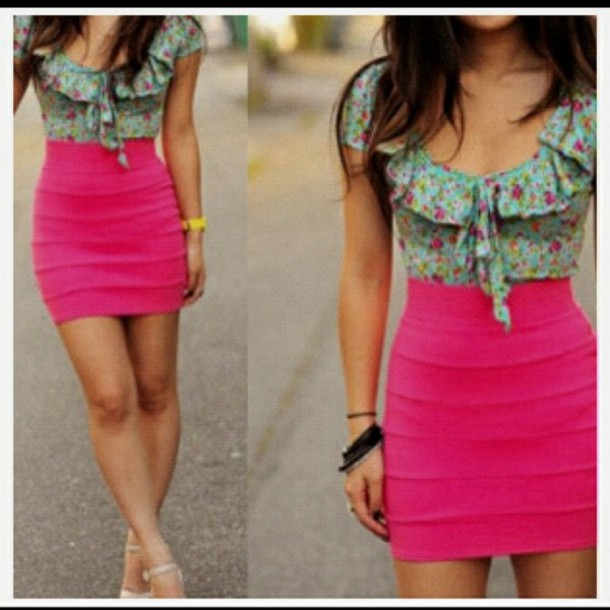 pink floral dress blouse hot pink blue skirt blue flowers cute skirt bag jewelry spring top shirt jewels green summer lovely pretty hot floral blouse pink skirt hot pink bodycon skirt floral aqua crops top t-shirt sweet girl perfect colorful color/pattern