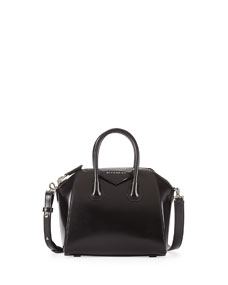 Givenchy Antigona Mini Box Calf Satchel Bag, Black