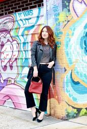 tf diaries,blogger,shirt,jeans,shoes,bag,jacket,black leather jacket,pumps,red bag,spring outfits