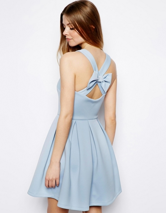 Bowknot backless deep v-neck high-waisted dresses / melodyclothing