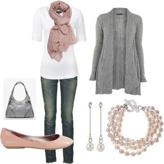 cardigan shoes earrings bag purse scarf top shirt braclets
