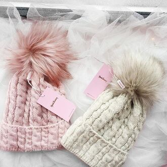 hat yeah bunny pink pastel cute pom poms winter outfits