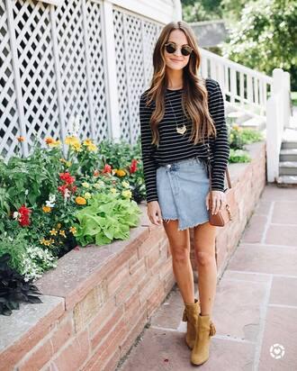 top skirt tumblr stripes striped top mini skirt denim denim skirt wrap skirt boots ankle boots sunglasses