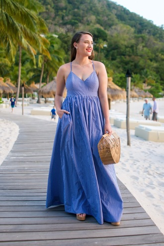 covering bases curvy blogger dress shoes bag make-up jewels blue dress maxi dress spring outfits