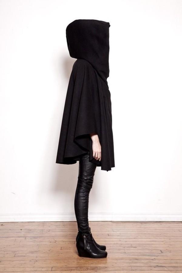 jacket cape hood hooded jacket black coat all black everything cloak minimalist pants kawaii tumblr black jacket hoodie