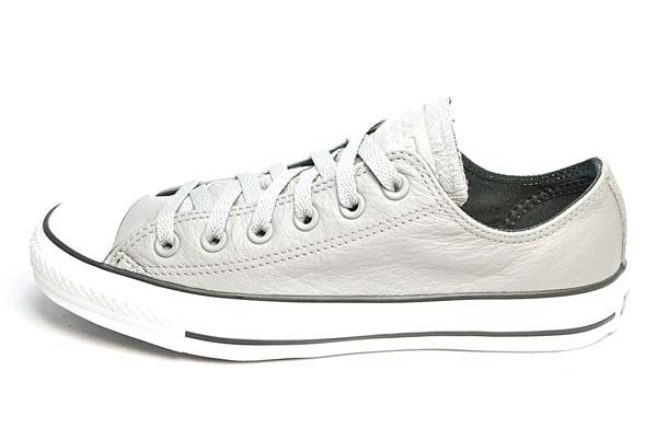$62 CONVERSE FREE SHIPPING, CONVERSE LEATHER ALL STAR LOW TOP, CHARCOAL/WHITE, 132175C | CONVERSE SHOES