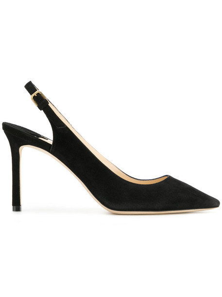 Jimmy Choo women pumps leather suede black shoes