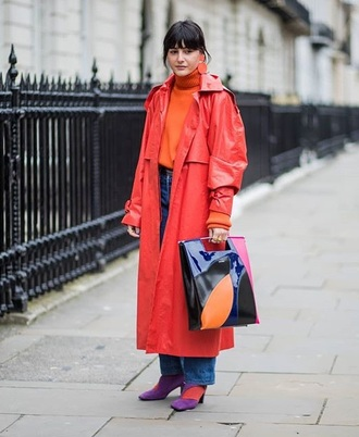 coat red coat trench coat streetstyle oversized turtleneck sweater jeans blue jeans bag shoes