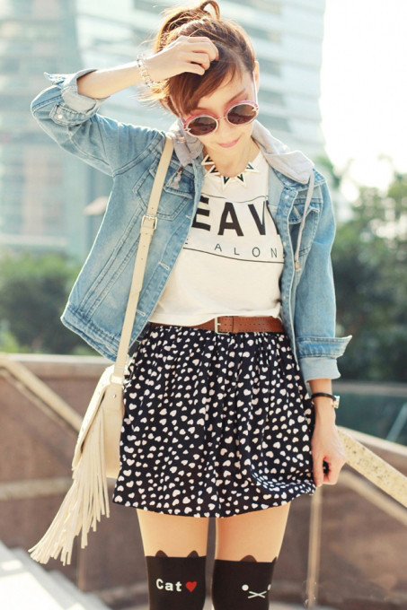 Summer/ FallHot Sale Gilrs' Fashion Stylish New Design Casual Navy Belt Hearts Print Cotton Mini Party Short Skirt  Women 2013-in Skirts from Apparel & Accessories on Aliexpress.com