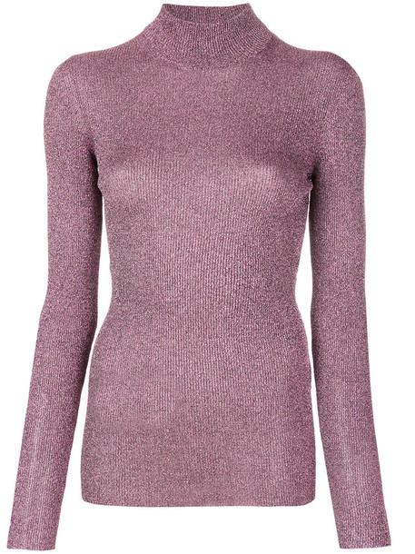 Missoni sweater turtleneck turtleneck sweater metallic women purple pink