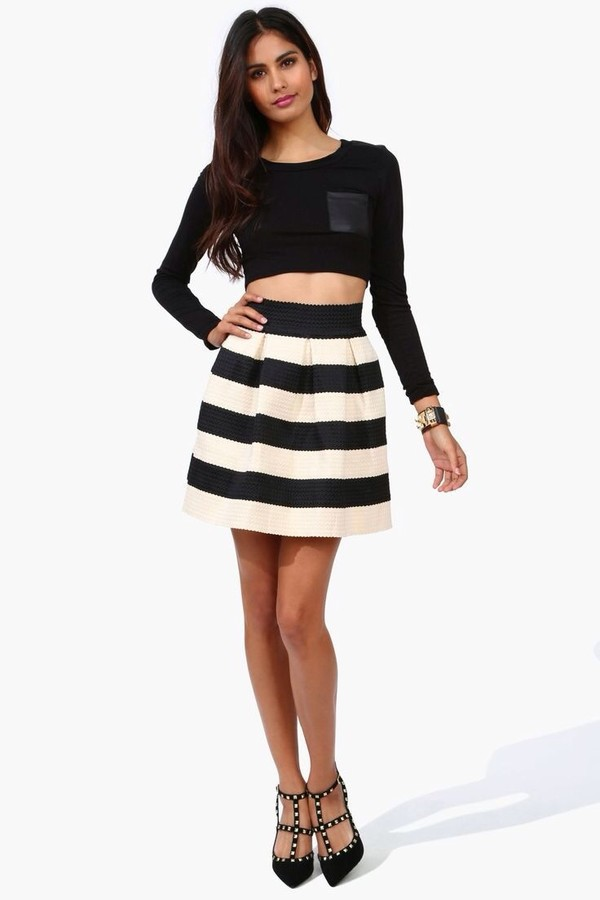 Black & White Striped A-line Bandage Skirt by Honey Punch | Ooh La ...