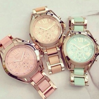 jewels watch gold class classy turquoise pink