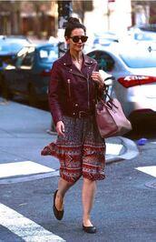 midi dress,flats,katie holmes,spring outfits,jacket,burgundy,purse,leather jacket,floral dress,ballet flats,pink bag