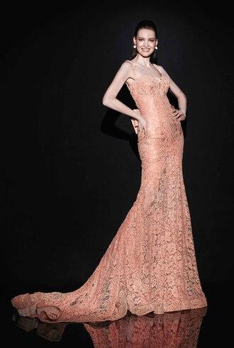 lace dress pink dress bow back dress spaghetti straps v neck dress mermaid prom dresses evening dress