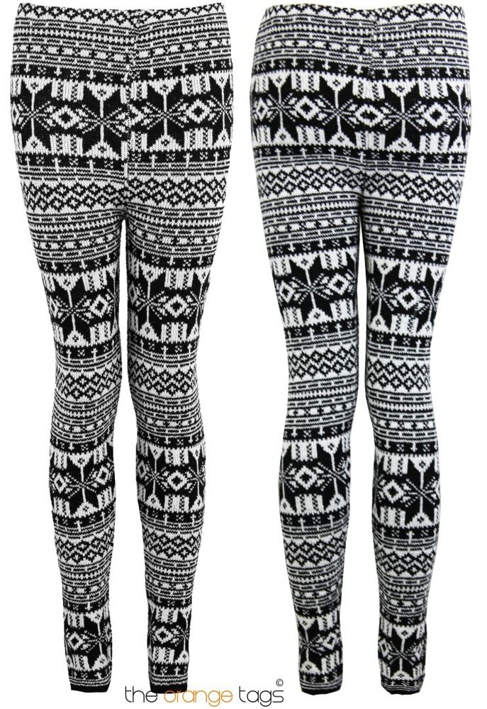 NEW LADIES WOMENS FAIR ISLE KNITTED WINTER LEGGINGS WARM TROUSERS | eBay