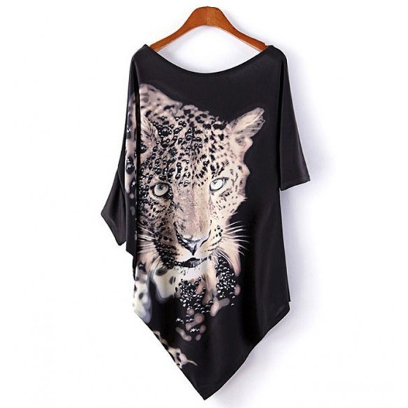 Leopard Print Asymmetric Top at Style Moi