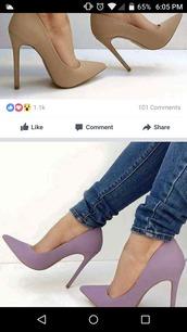 shoes,nude,purple,pumps,nude heels,purple pumps,nude pumps,dress up,heels,nude shoes