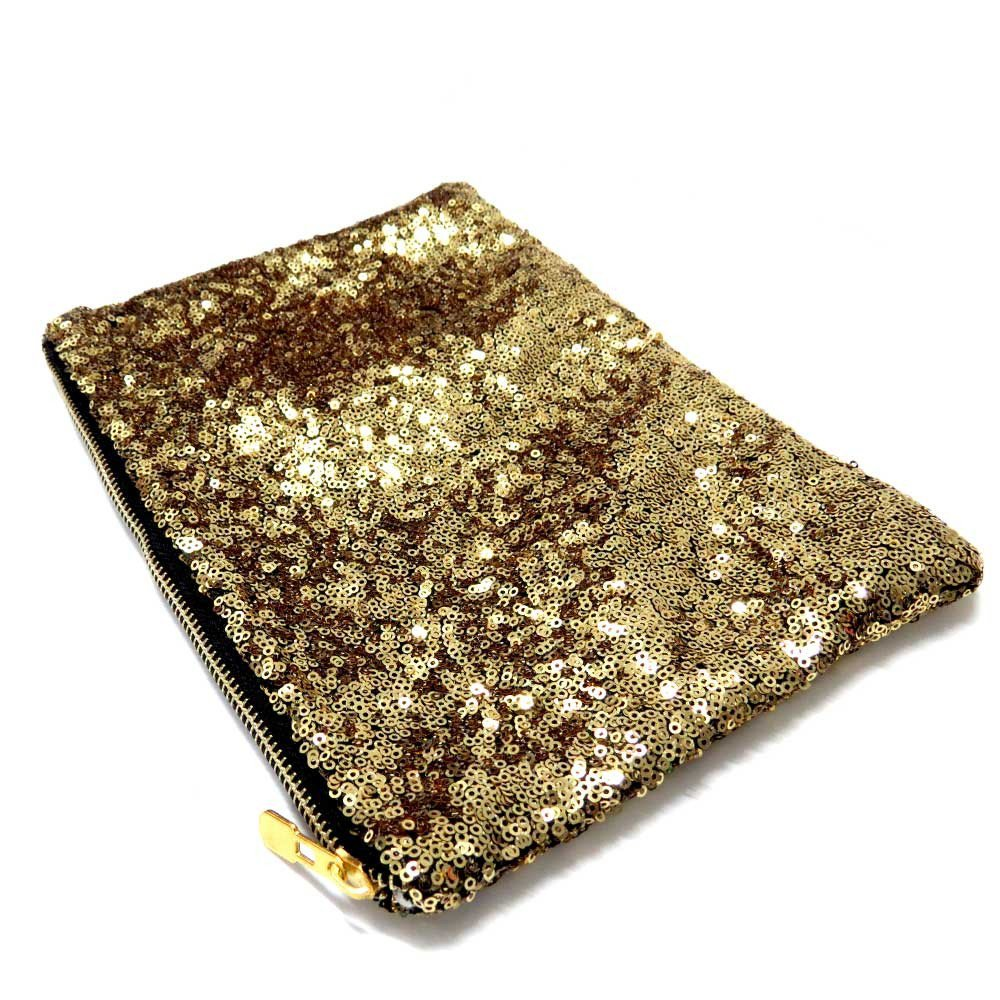 Sequin And Embellishment Zip Top Clutch Bag - Gold  | Aniika on Wanelo