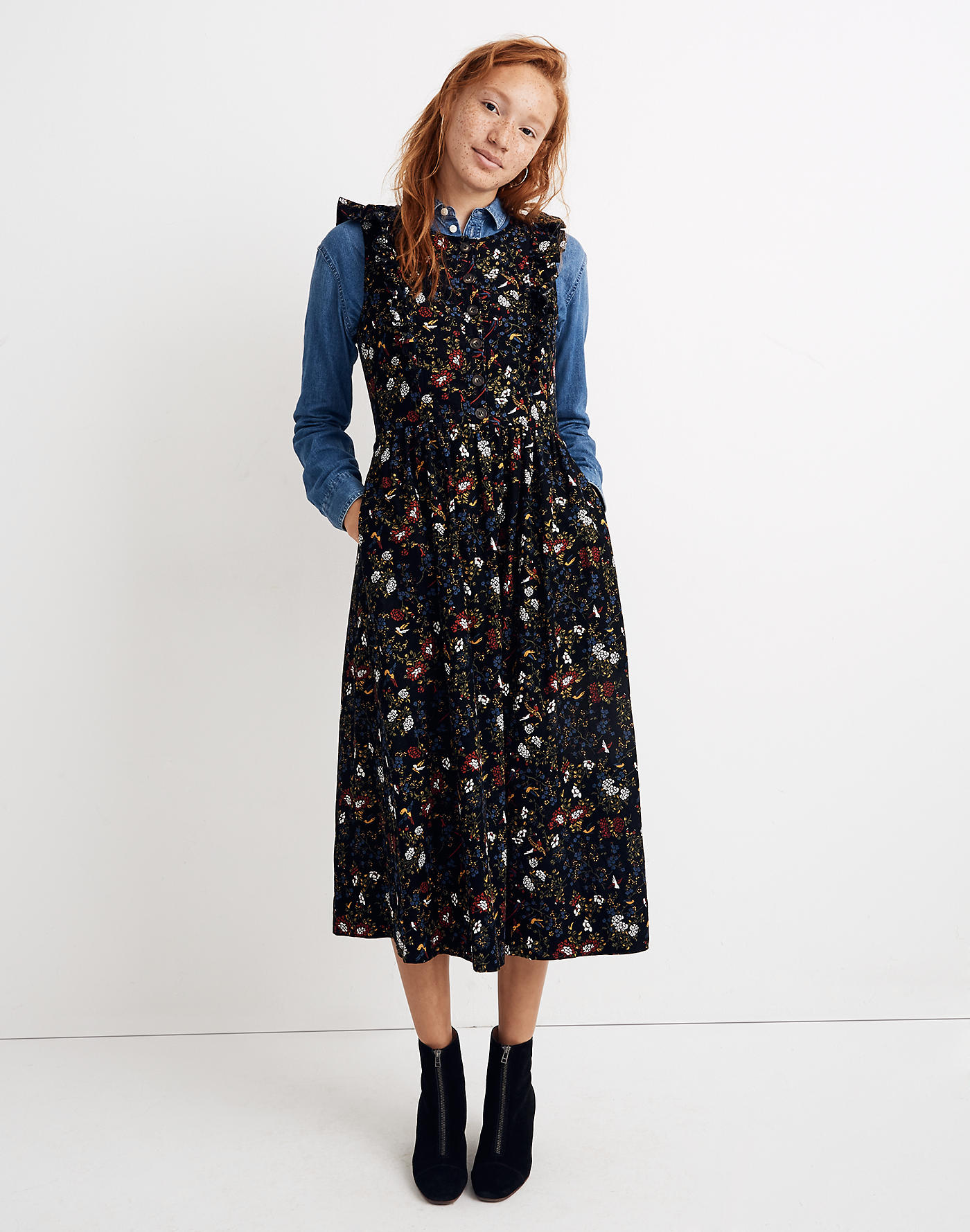Corduroy Ruffle-Front Dress in Finch Floral