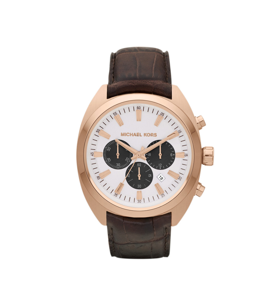 Michael Kors Men's Chocolate Leather & Rose Gold Dean Chronograph Watc | Emprada