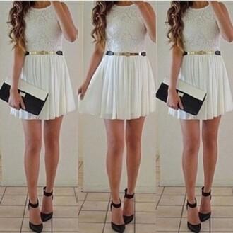 dress white dress cute belt golden summer outfits summer dress little white dress accessories