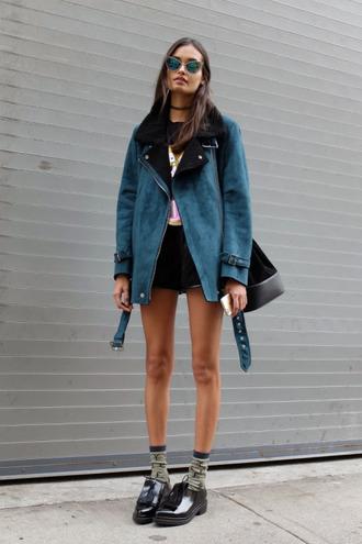 jacket baseball jacket denim jacket shearling shearling jacket shearling denim jacket hipster goth hipster pastel soft grunge