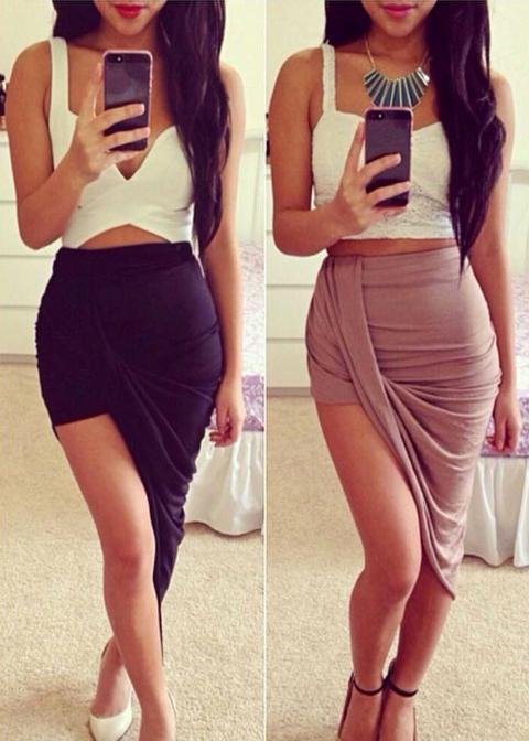 Sexy Irregular Hem Skirt|Disheefashion