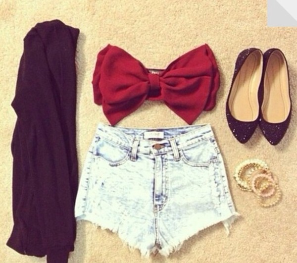 t-shirt bow shirt shorts sweater