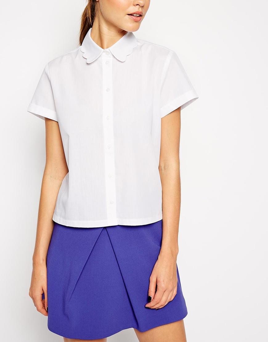 ASOS Boxy Shirt With Scallop Collar at asos.com