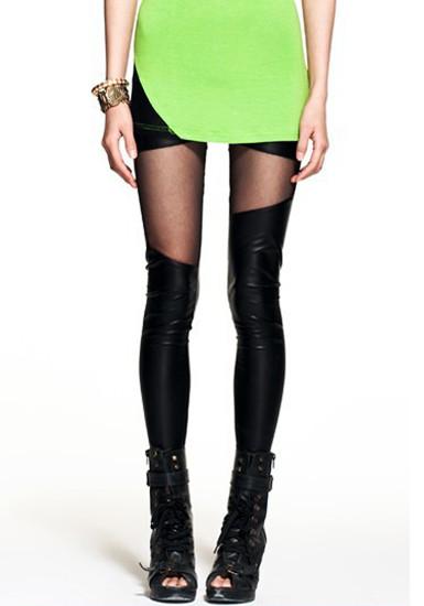 Mesh panel black leggings