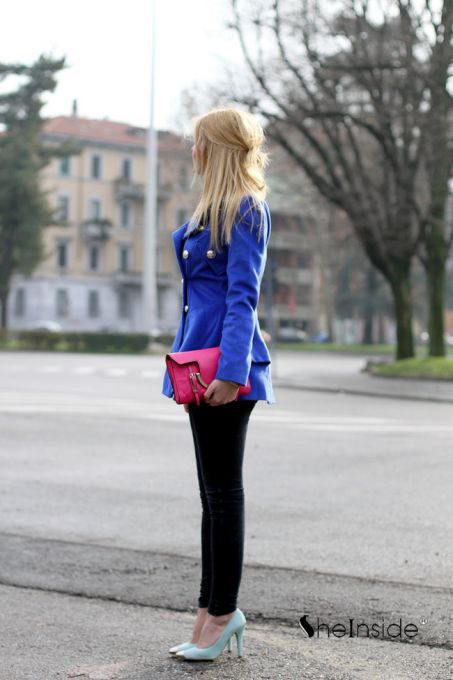 Royal Blue Military Double Skirt Hem Woolen Coat - Sheinside.com