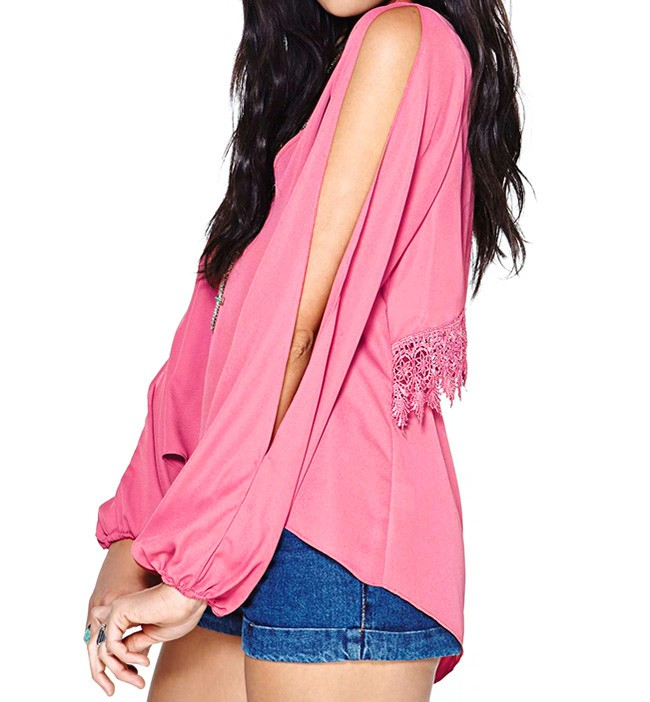 Split Sleeve Blouse With Layered Back