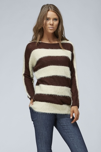 brown striped sweater fuzzy sweater boatneck comfy betsy boo's boutique