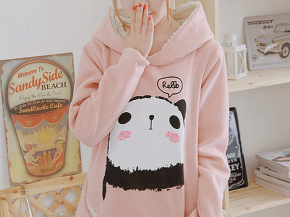 hoodie panda fur sweater pastel pink kawaii