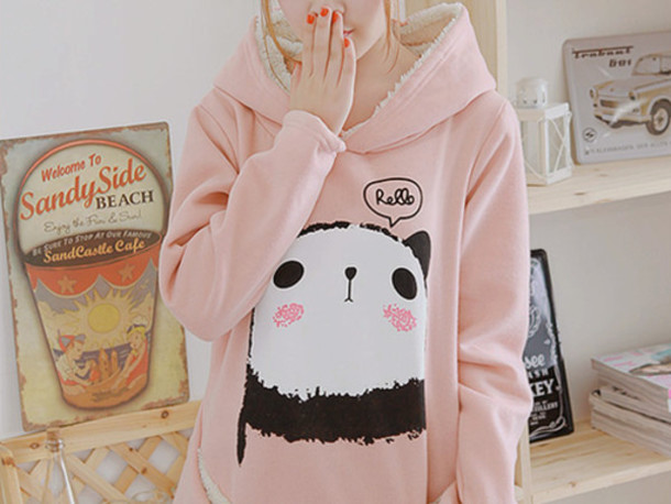 sweater sweatshirt hipster hoodie pastel pink panda kawaii baby pink cute fur top hoody coat jacket light pink