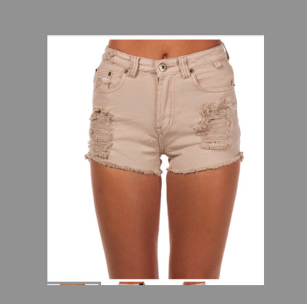 Shorts: high waisted, rips, ripped, brown, tan, summer, short ...
