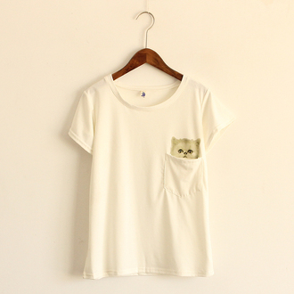t-shirt shirt top white pockets cute cats girly kawaii fashion style outfit asian fashion casual teenagers back to school plain shirt
