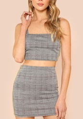 dress,girly,grey,plaid,two-piece,two piece dress set,gingham,gingham dresses,matching set,crop tops,cropped,crop,plaid skirt,skirt,cute,high waisted,gingham skirt,plaid crop tops