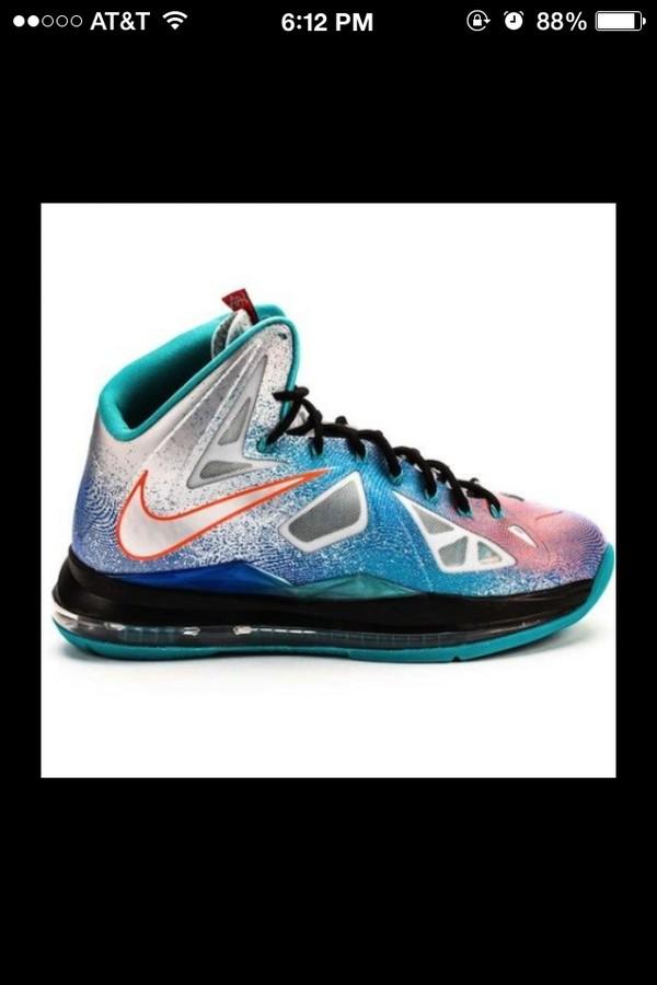 shoes galaxy print lebrons
