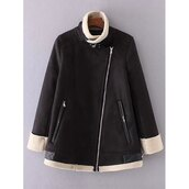 jacket,trendy,fall outfits,fashion,style,leather,faux fur jacket,zip,black,long sleeves,trendsgal.com
