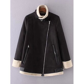 jacket trendy fall outfits fashion style leather faux fur jacket zip black long sleeves trendsgal.com